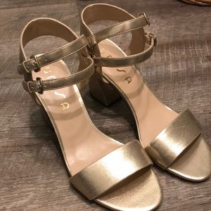 NWOT Unisa gold heels with double strap